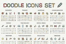 Hand draw colored sketch icons set