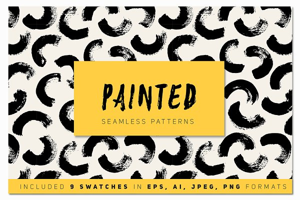 Painted Seamless Patterns Set