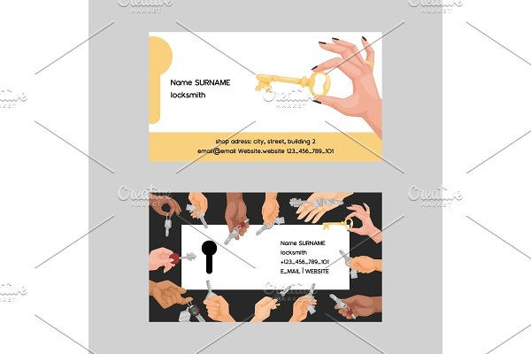 Key vector business card hand