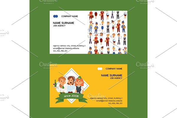 Job agency vector business-card