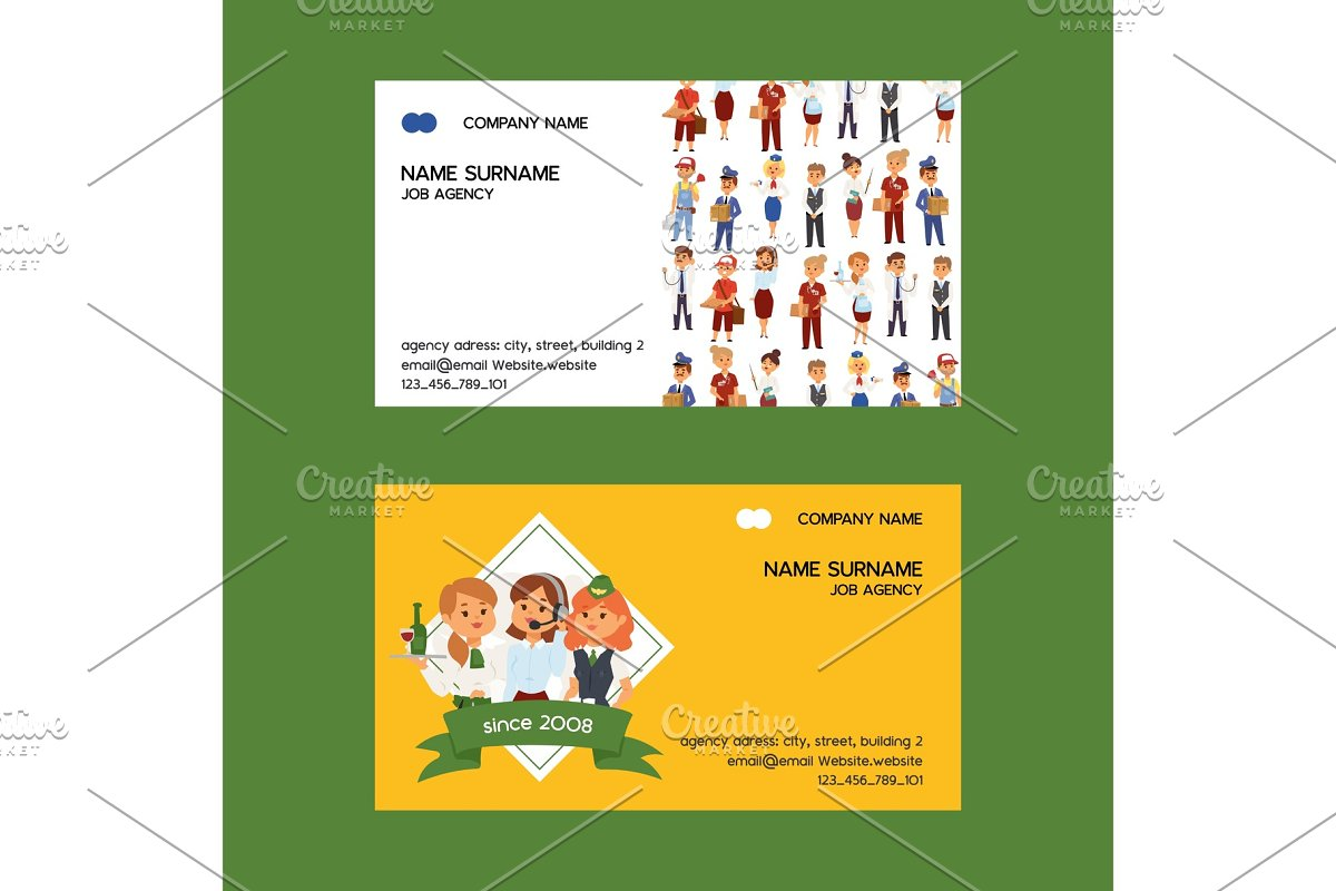 Job agency vector business-card in Illustrations - product preview 8
