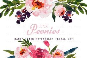 Pink Peonies-Watercolor Clip Art