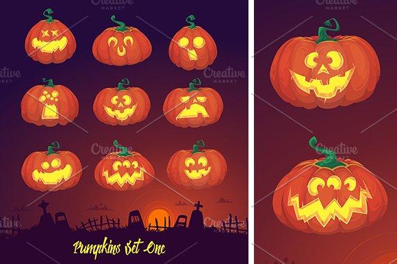 Vector pumpkins set