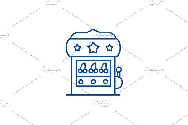 Casino machine line icon concept