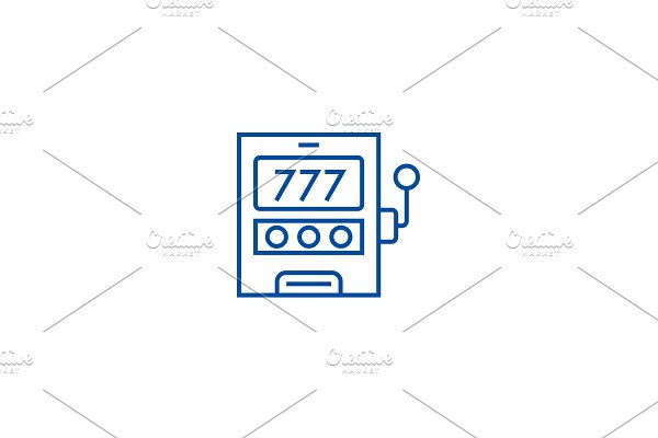Casino machine,luck line icon