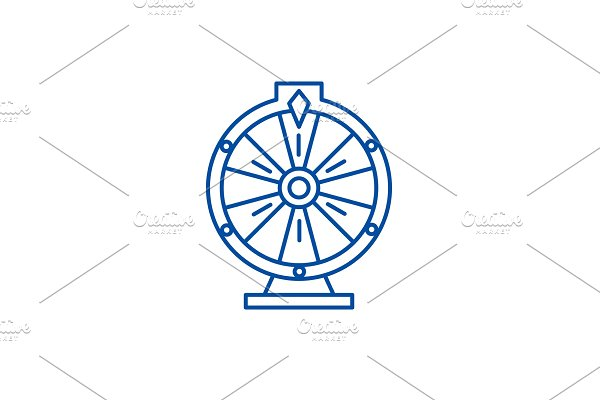 Casino roulette line icon concept