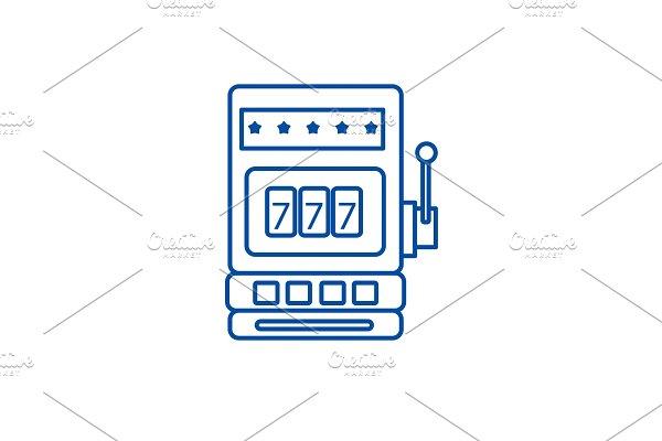 Casino slot machine line icon