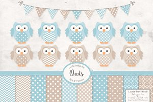 Soft Blue Vector Owls & Papers