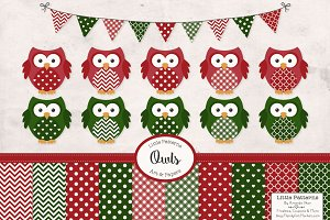 Christmas Owl Vectors & Patterns