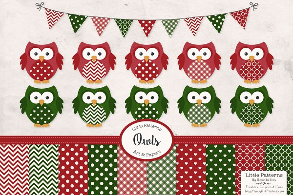 Christmas Owl Vectors & Patterns