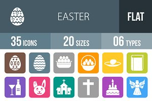 35 Easter Flat Round Corner Icons