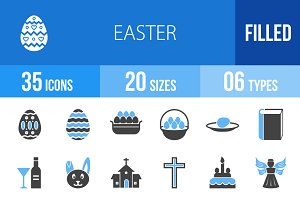 35 Easter Blue & Black Icons