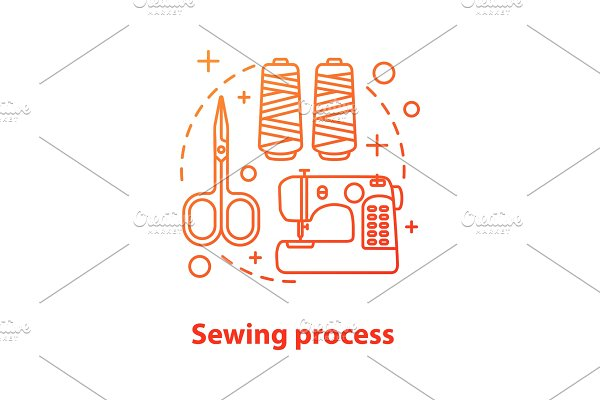 Sewing process concept icon