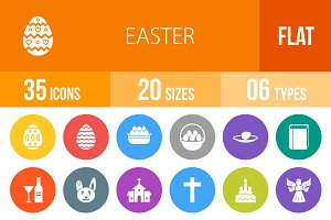 35 Easter Flat Round Icons