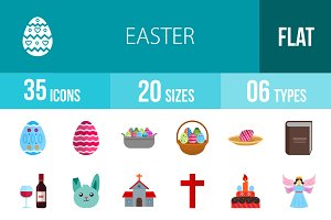 35 Easter Flat Multicolor Icons