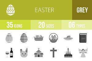 35 Easter Greyscale Icons