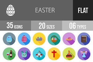 35 Easter Flat Shadowed Icons