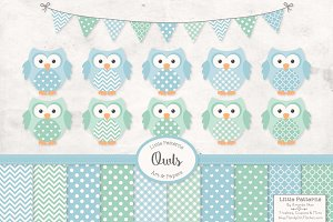 Blue Mint Owls and Patterns