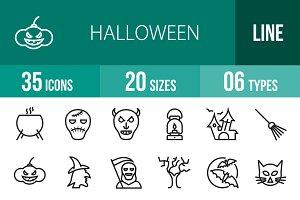 35 Halloween Line Icons