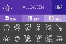 35 Halloween Line Inverted Icons