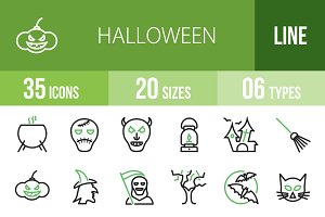 35 Halloween Green & Black Icons
