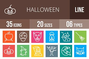 35 Halloween Line Multicolor Icons