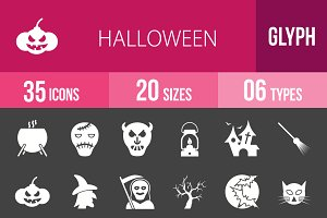 35 Halloween Glyph Inverted Icons