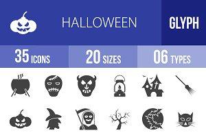 35 Halloween Glyph Icons