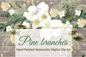 Watercolor mint hand painted clipart