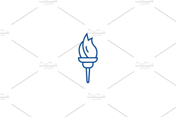 Torch line icon concept. Torch flat