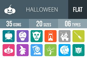 35 Halloween Flat Round Corner Icons