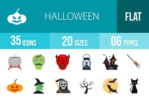 35 Halloween Flat Multicolor Icons