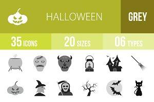 35 Halloween Greyscale Icons