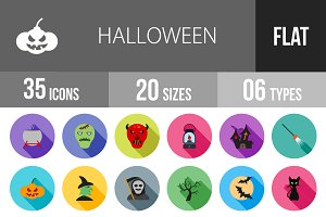 35 Halloween Flat Shadowed Icons