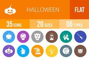 35 Halloween Flat Round Icons