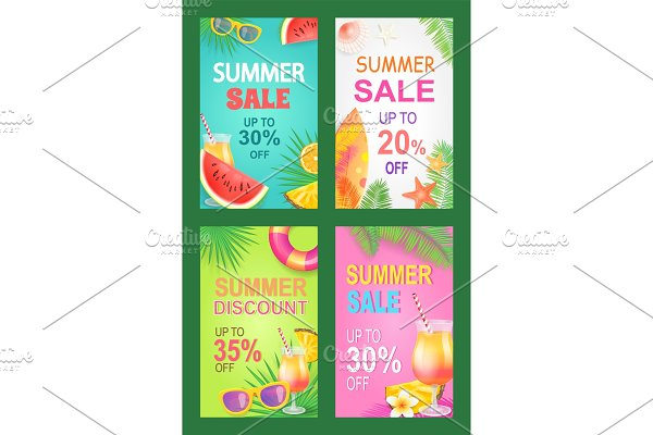 Summer Sale Posters Set Offer Vector