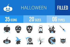 35 Halloween Blue & Black Icons