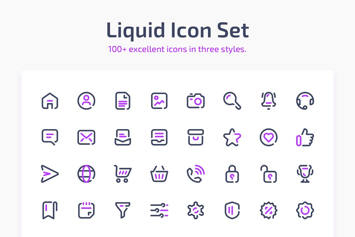 Liquid Icon Set 100+ in three styles