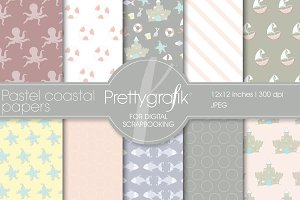 Pastel coastal digital paper