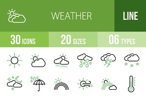 30 Weather Line Green & Black Icons