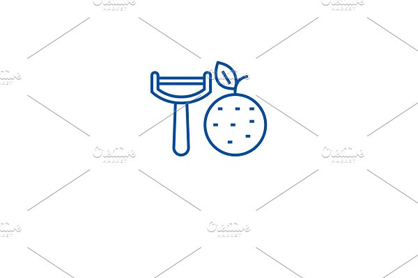 Vegetable peeler line icon concept