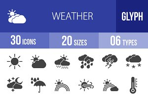 30 Weather Glyph Icons