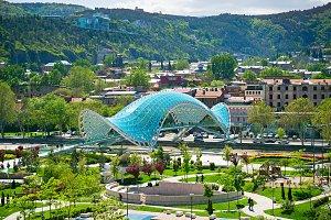 View on Peace brdge, Tbilisi,Georgia
