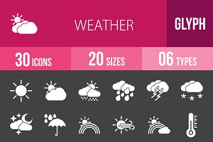 30 Weather Glyph Inverted Icons