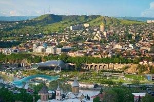 Tbilisi skyline at sunset, Georgia