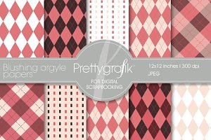 Blushing Argyle digital paper