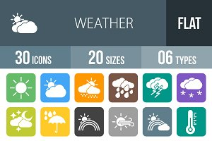 30 Weather Flat Round Corner Icons