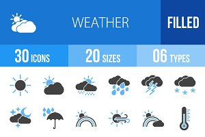 30 Weather Blue & Black Icons