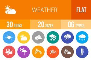 30 Weather Flat Round Icons