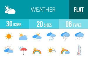 30 Weather Flat Multicolor Icons